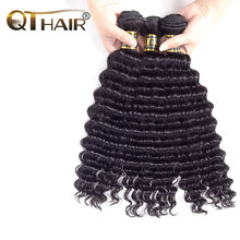 QThair Malaysian Deep Wave Hair 8″-28″ Natural Black Color Non-remy Hair Weave Bundles Free Shipping