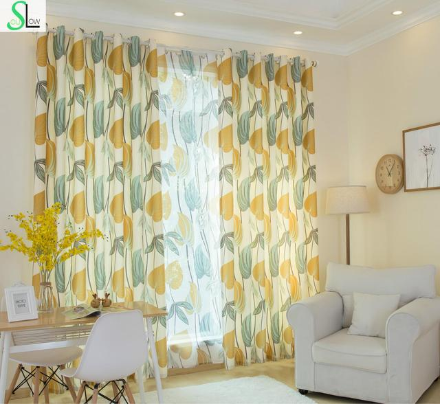 Slow Soul Autumn Yellow New Korean Pastoral Leaves Curtains Cortina For  Living Room Kitchen Bedroom Curtain