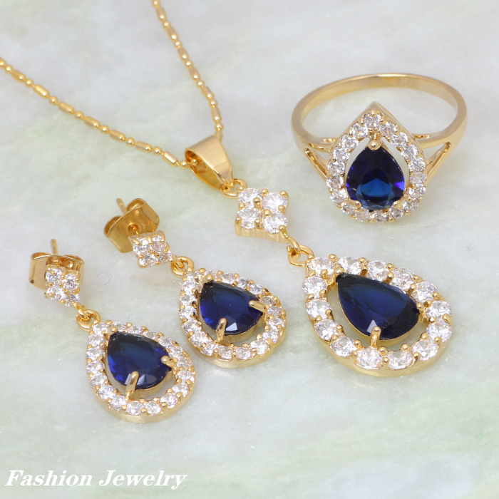 Austrian crystal jewelry 18K Yellow Gold Plated Blue sapphire