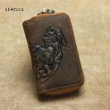 100% echtes Leder Auto Schlüssel Brieftasche Männer Schlüssel Halter Haushälterin Pferd Carving Keychain Abdeckungen Zipper Tasche Tasche Geldbörse