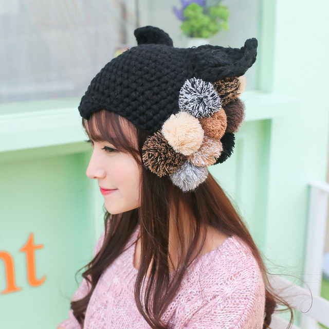 2019 Autumn Winter Warm Knitted Hats Cute cat Female Beanies Women Turban  Thin Hip-hop Caps Unisex Solid Hat Mens Woman 0ea0e98f019