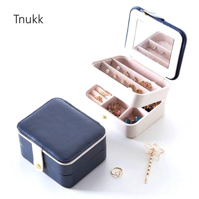 1pcs Portable Multilayer Jewelry Storage Box PU Leather Small Box