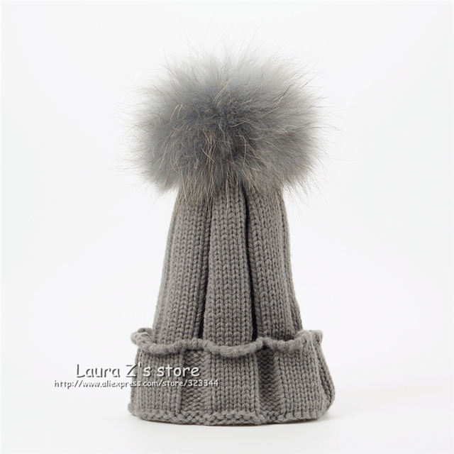 3d1ef10ee0e LAURASHOW Children Winter Raccoon Fox Fur Hat Girls Boys 100% Real ...