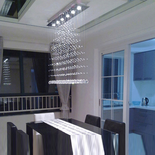 Led Crystal Chandelier Lustres Diningroom Crystal Lamps Long Spot Light Crystal  Chandelier Bedroom Bar Coffeshop Indoor