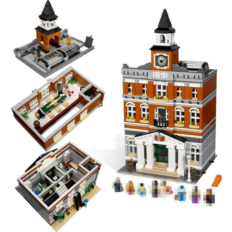 Lepin15003 2859Pcs City Series The Town Hall Model Compatible Legoed Building Kits Blocks Kid DIY Toys For Children Gift 10224 lepin 1767 city town city square building blocks sets brick kid model kids toys for children marvel compatible bela diy gift toy