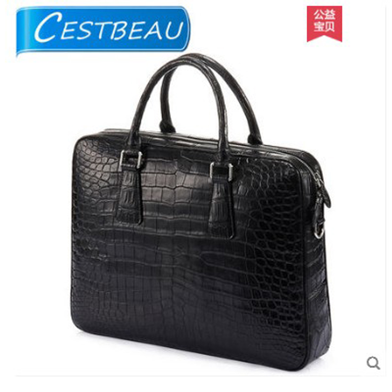 Cestbeau spliced real crocodile belly men's bag handbag briefcase 2019 new business band computer layer image