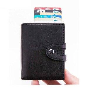Image 2 - BISI GORO cartera inteligente para hombre y mujer, tarjetero multifuncional de Metal RFID de aluminio con bloqueo para tarjetas de viaje, 2019