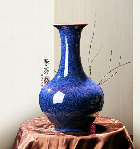 COLLECTIBLE DECORATION CHINA PORCELAIN HANDMADE EUROPEAN FAMBE BLUE VASE C
