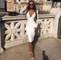 White and Black Color Women's Long Sleeve V Neck Sexy Bodycon Knee Length Dress Rayon Bandage Club Party Dress