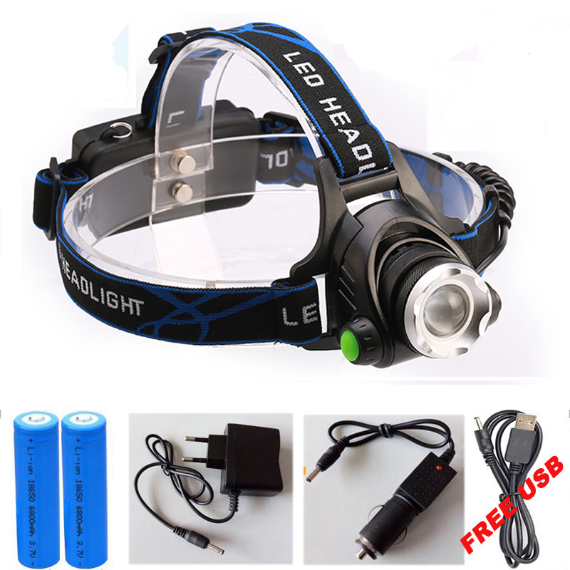 Super Bright CREE XML T6 headlight headlamp Zoom waterproof 18650 rechargeable Led Head Lamp Bicycle Camping Hiking Light