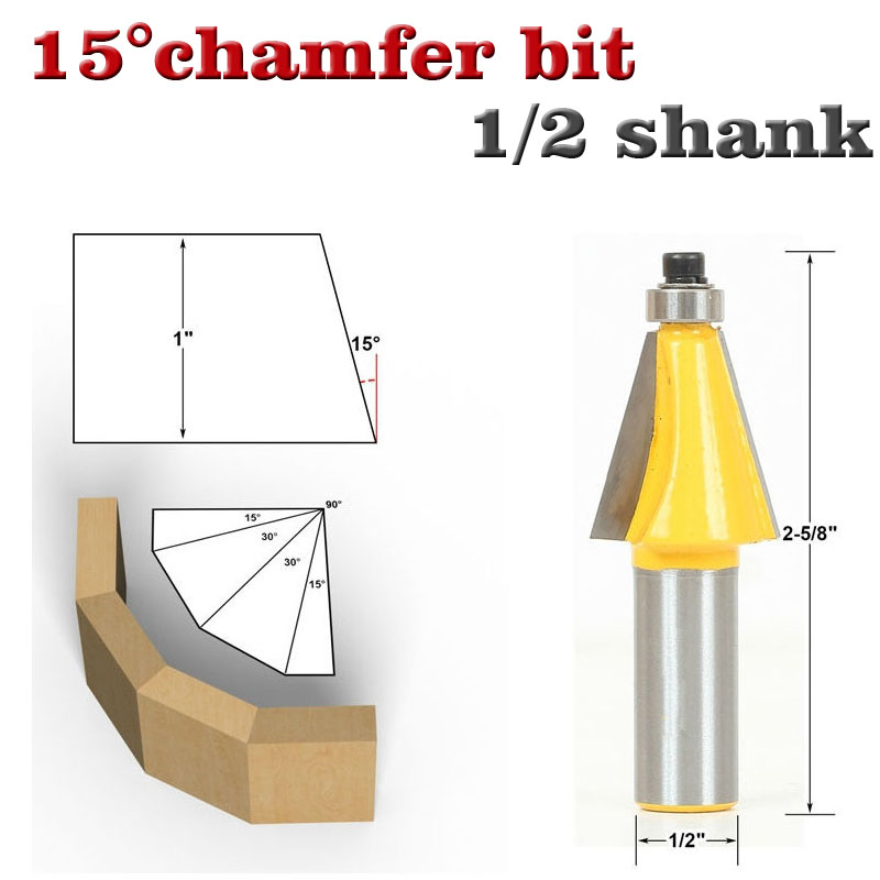1pc 15 Degree Chamfer & Bevel Edging Router Bit - 1/2