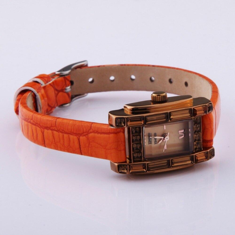 d869cff6a11 TIME100 Relógio Feminino Elegante Relógio de Quartzo Fecho de Jóias Cinta  De Couro de Cor de laranja Relógios Casuais de Pulso de Vestido para as  Senhoras ...