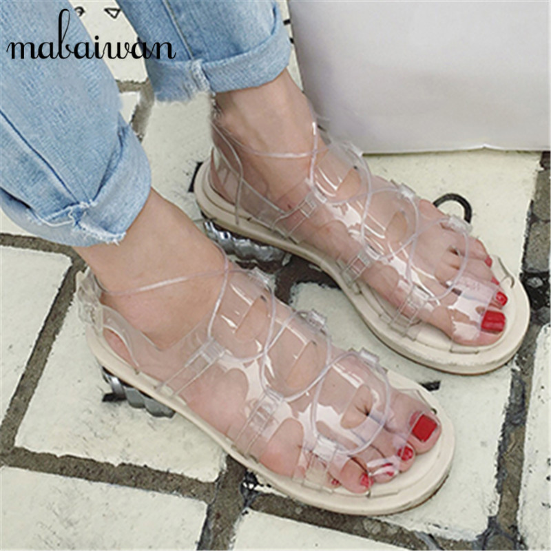 2017 New Summer Women Transparent PVC Sandals Lace Up Casual Flats Gladiator Jelly Shoes Woman Cool Beach Sandals Valentine Shoe phyanic platform women sandals 2017 new summer gladiator sandals beach flats shoes woman hook