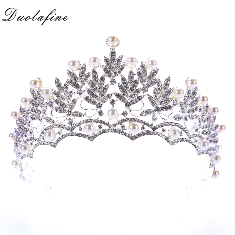 Vintage Crystal Pearl Wedding Crowns Tiaras Bridal Wedding Hair Accessories Bridal Women Baroque Crown Silver Leaf Hair Jewelry