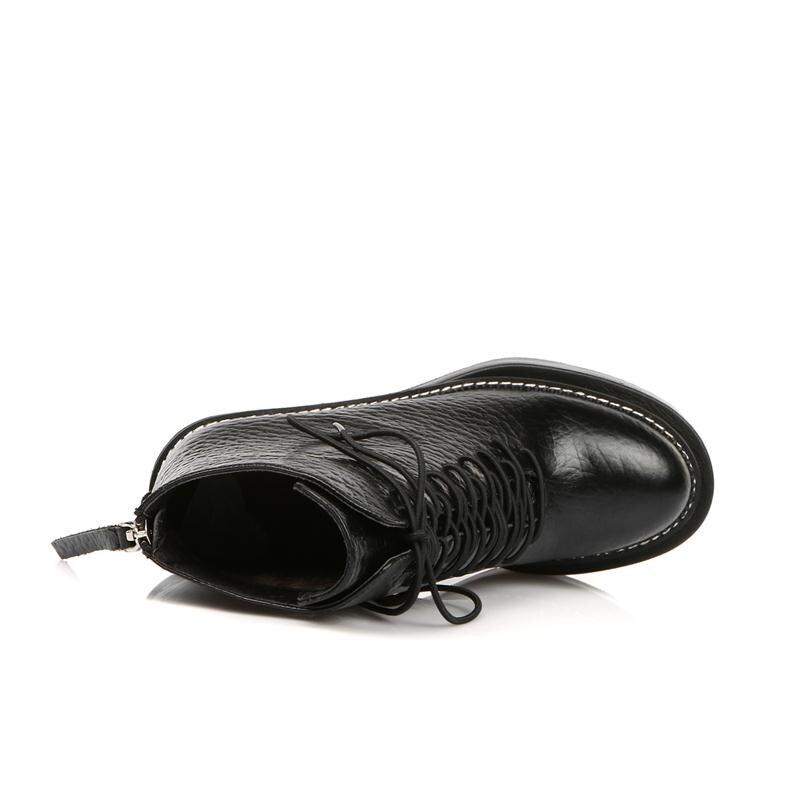MoonMeek stile dolce solido lace up caviglia donne stivali in vera pelle rotondo toe scarpe partito con zeppe tacchi alti - 5