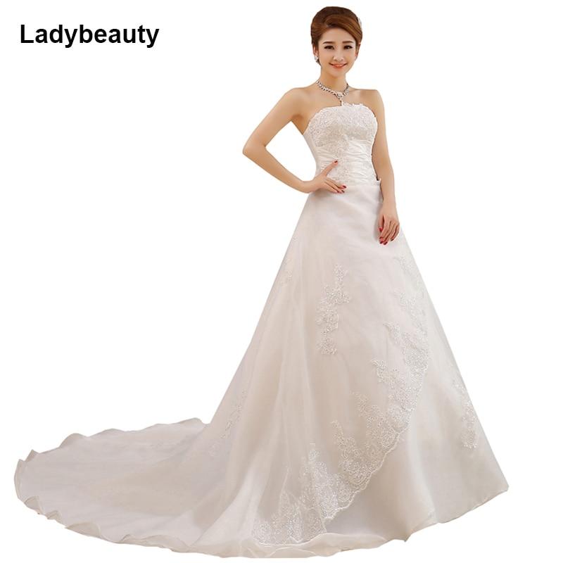 Custom Wedding Dress A Line Bridal Gown With Long Train Sleeveless Strapless Satin Bridal Dress Vestido