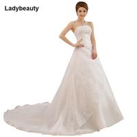 2015 Custom Wedding Dress A Line Bridal Gown With Long Train Sleeveless Strapless Satin Bridal Dress