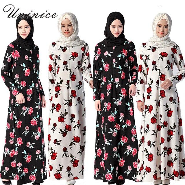 UNINICE Fleur Imprimé Musulman Femmes Robe À Manches Longues Robe Islamique  Abayas pour Femmes Robe Turque 35c3f3c3aed