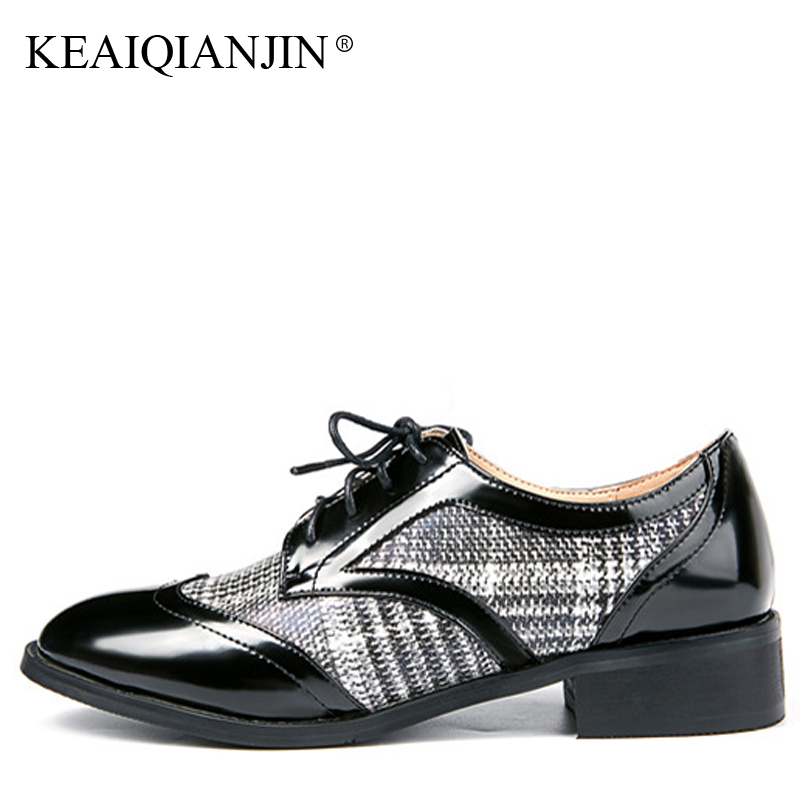 цены KEAIQIANJIN Woman Genuine Leather Derby Shoes Black Red Spring Autumn Flats Fashion Lace-Up Genuine Leather Brogue Shoes 2018