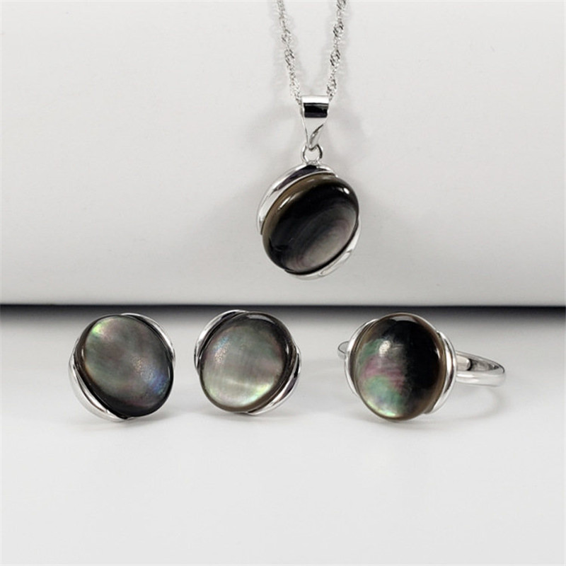 Natural Black Mother Of Pearl Red Onyx 100 Pure Sterling Silver 925 Jewelry Set For Women
