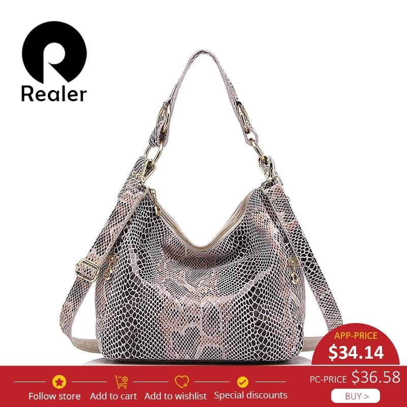 Realer Brand woman handbag genuine leather tote bag female classic serpentine prints shoulder bags ladies handbags