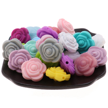BPA Free 50pcs Silicone Mini Rose Teether Beads Flower Baby Teething Nursing Necklace Accessories DIY Newborn Pacifier Chain Toy