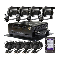 Free Shipping 4 Channel Car DVR Recorder Video Playback on PC Kit Night Vision CCTV Car Rear View Camera + 1TB HDD for Truck Van