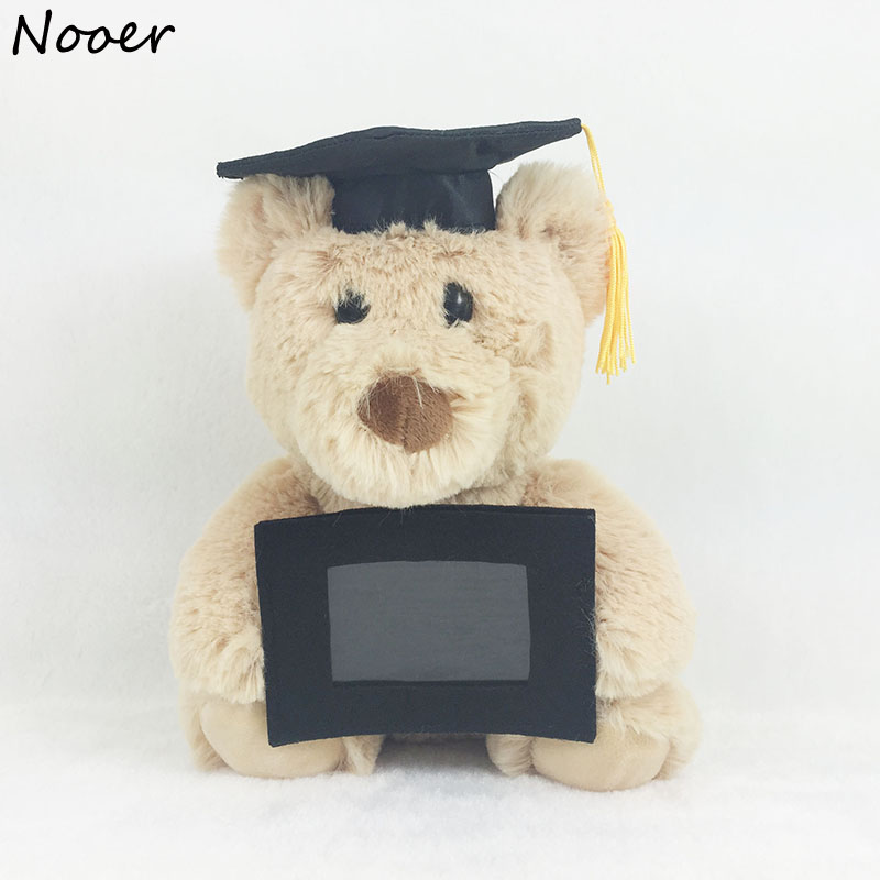 Nooer Hot 20cm Dr.Bear Plush Toy With Doctorial Hat And Photo Frame Stuffed Graduation Bear Doll College Student Graduation Gift