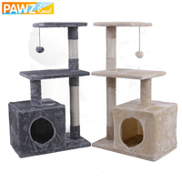 H 85cm Multi functional Cat Tree House Multi layer Beige Gray Cat Condo With Durable Sisal Scratcher Funny Climbing Frame