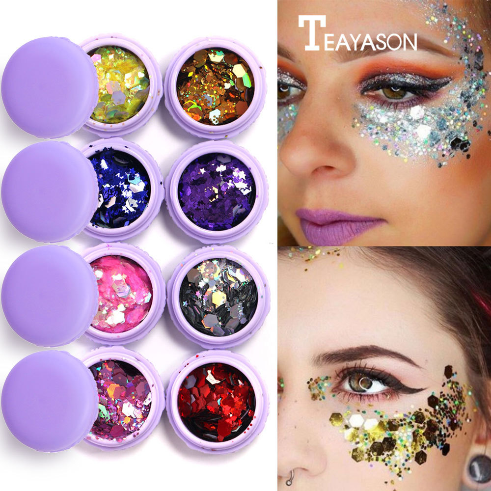 2018 Purple Macaron Metal Eyeshadow Laser Sequins Flash Glitter