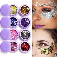 2018 Purple Macaron Metal Eyeshadow Laser Sequins Flash Glitter Makeup 3D Eye Special Party Palette