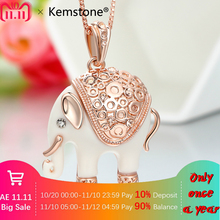 Kemstone Sexy Elephant Necklace & Pendants For Women Full Rhinestone Crystal Jewelry Necklaces,15