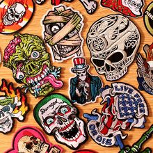 DIY Mummy Patch Embroidered Punk Skull Patches For Clothing Iron On Clothes Embroidery Badges