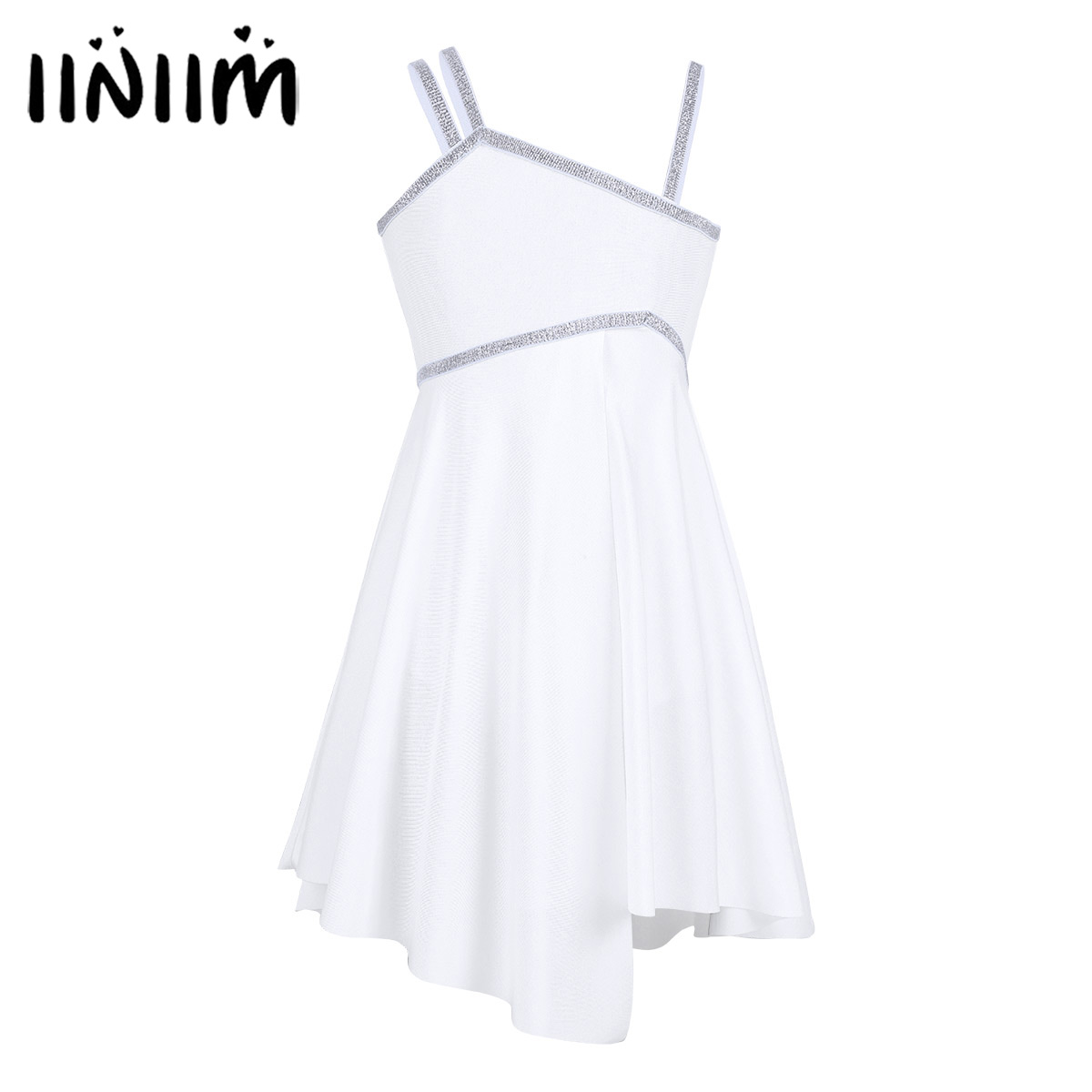 iiniim Kids Children's Ballet Dance Tutu Dress Ballerina Shoulder Straps Shiny Gymnastics Leotard Dancewear Girls Costumes Dress