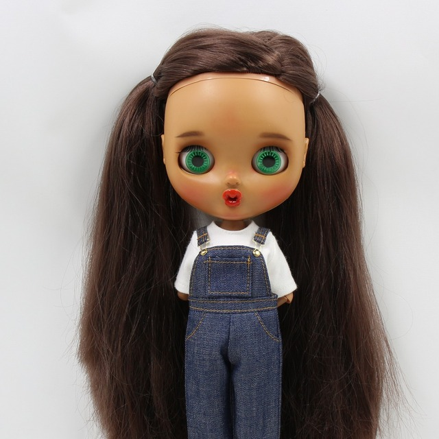 Neo Blythe Doll White Shirt With Blue Overall