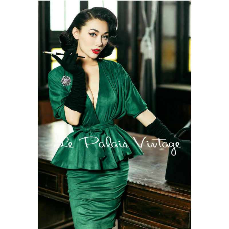 fc879773d186 FREE SHIPPING Le Palais Vintage elegant retro emerald bat sleeve skirt  shirt pencil skirt suits/