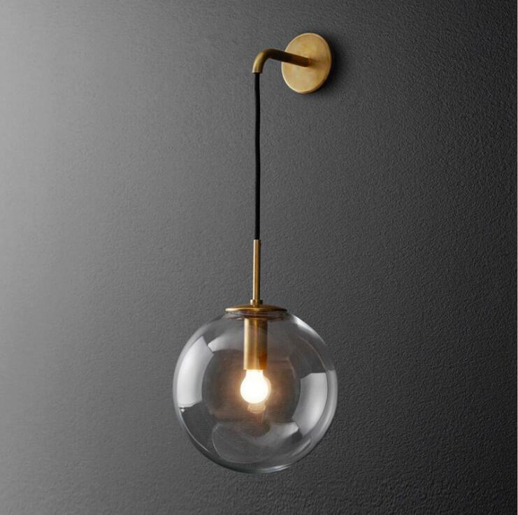 цена Nordic round glass ball wall lamp bedroom lamp creative personality of modern minimalist hotel corridor bedside wall lamp.