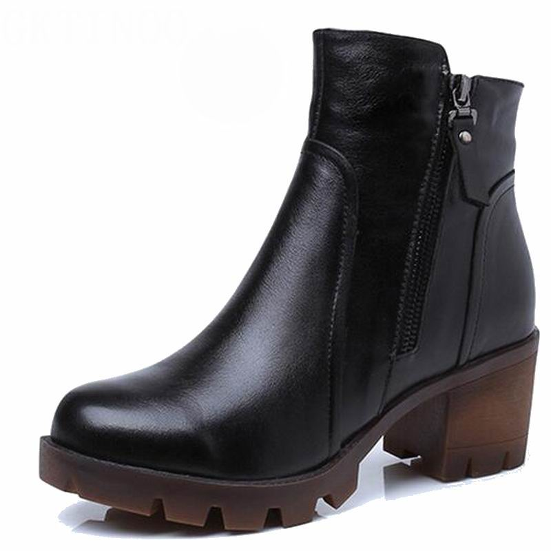 2019 automne hiver femmes bottines nouvelle mode laine fourrure chaude femme neige bottes pour dames chaussures grande taille 34 40-in Bottines from Chaussures    3