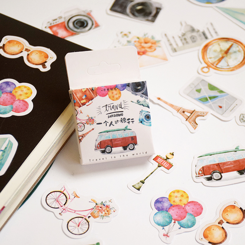 Cute One Person Travel Decorative Stickers Decoration Diary Album Scrapbook Adhesive Stationery Sticker Gifts Kids Children