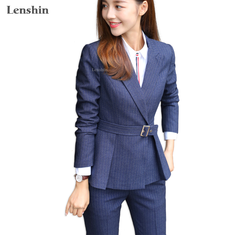 Lenshin 2 Pieces Set High quality Soft and Comfortable Striped Pant Suit Office Lady Formal Business
