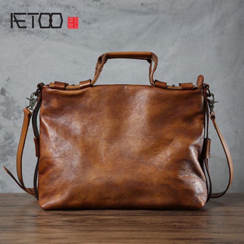 AETOO Original Men Handbag Handmade Messenger Bag Retro Leather Bag Female Tanned Leather Soft Handbag