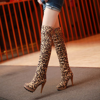 2018 Autumn Sexy Women Shoes Over the Knee Boots Nice Platform Round Toe Thin Heels Boots Leopard Shoes Woman Plus Size 34 40