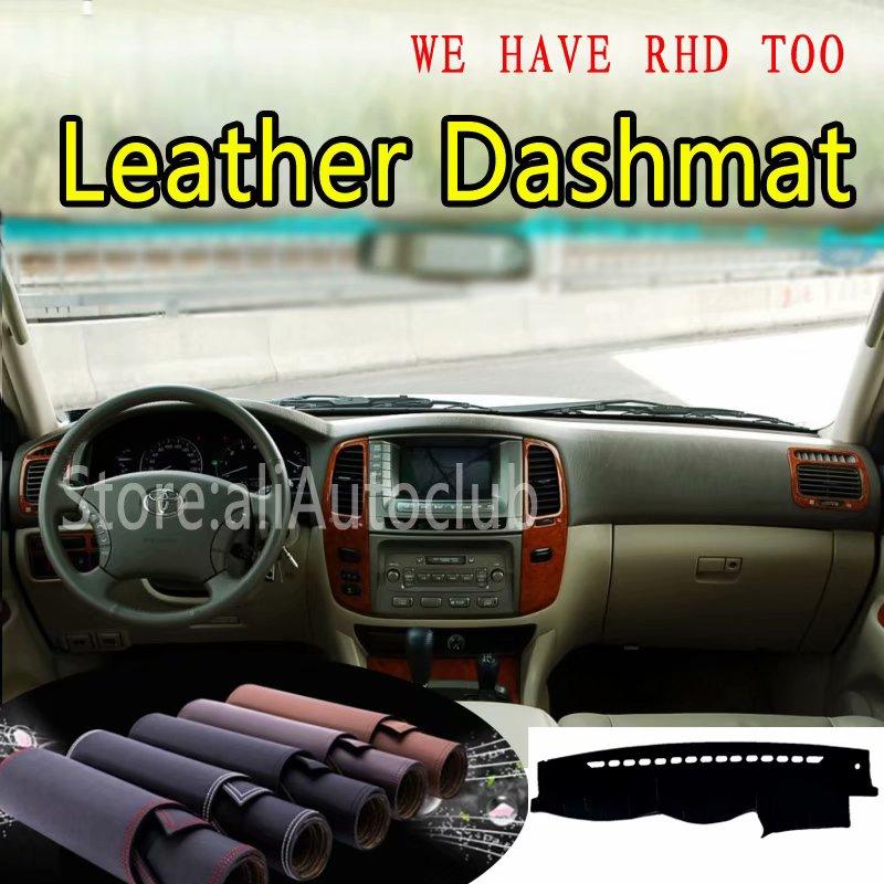 For Toyota Land Cruiser Lc100 Lexus Lx470 Leather Dashmat Dashboard Cover Dash Mat SunShade Carpet Custom Car Styling LHD+RHD