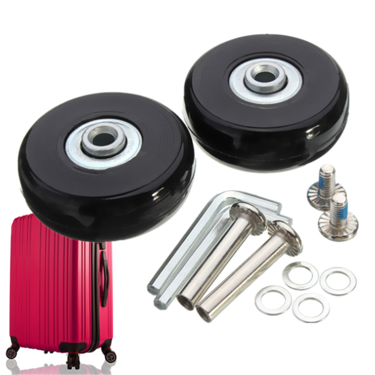 MTGATHER 2 Sets Luggage Suitcase Replacement Wheels Repair OD 50mm Axles ID 6 W 18 Axles 30 Repair Set Trolley Case AccessoriesMTGATHER 2 Sets Luggage Suitcase Replacement Wheels Repair OD 50mm Axles ID 6 W 18 Axles 30 Repair Set Trolley Case Accessories