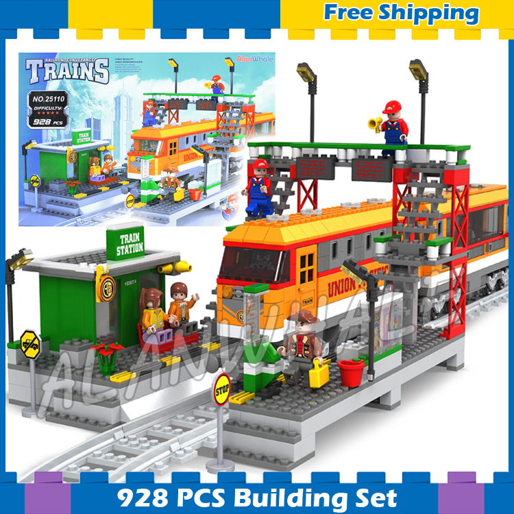 928pcs Creator High-speed Passenger Train Station locomotive Model Building Blocks City Railway Gifts Sets Compatible With lego