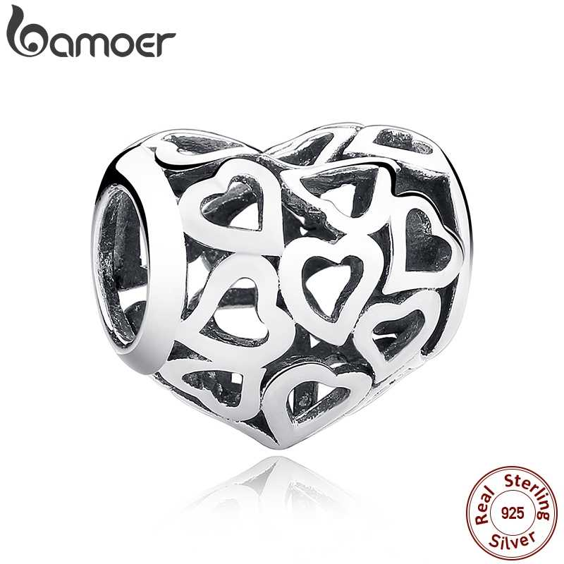 BAMOER 925 Sterling Silver Skeleton Heart Charms fit Bracelets & Necklace for Women Engagement Accessories SCC024