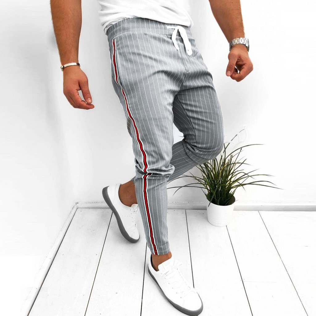 Check-Trousers Sweatpant Long-Pants Patchwork Drawstring Striped Men's Casual for Joggers