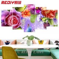REDIY LADIY DIY Diamond Embroidery Triptych 5 Panels Modular Picture Rose with Butterfly 5D Diamond Painting Cross Stitch Crafts