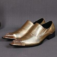 Christia Bella Echtes Leder Business Schuhe Männer Fashion Spitzschuh Gold Männer Kleid Schuhe Große Größe Party Hochzeit Schuhe Männlichen