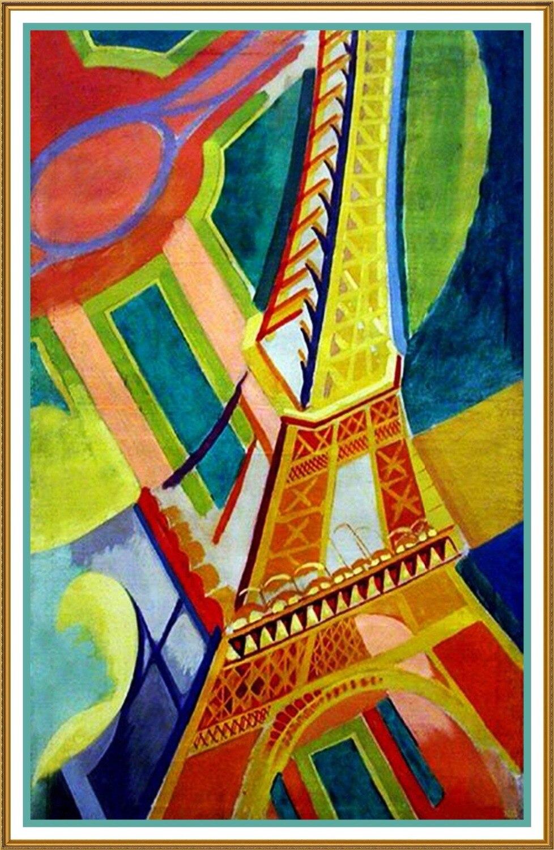 Reproductions de toile de peinture à l'huile de haute qualité la tour Eiffel cubisme géométrique de Robert Delaunay peint à la main